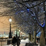 Beautiful London in the snow southbank walk by night