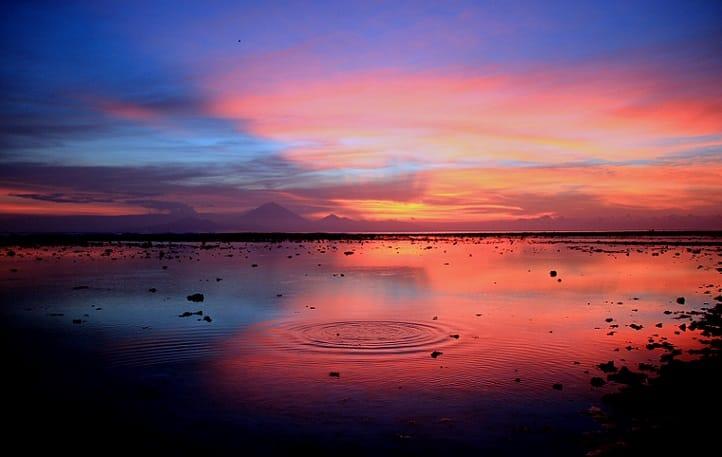 Indonesian Beautiful sunset at gili trawangan