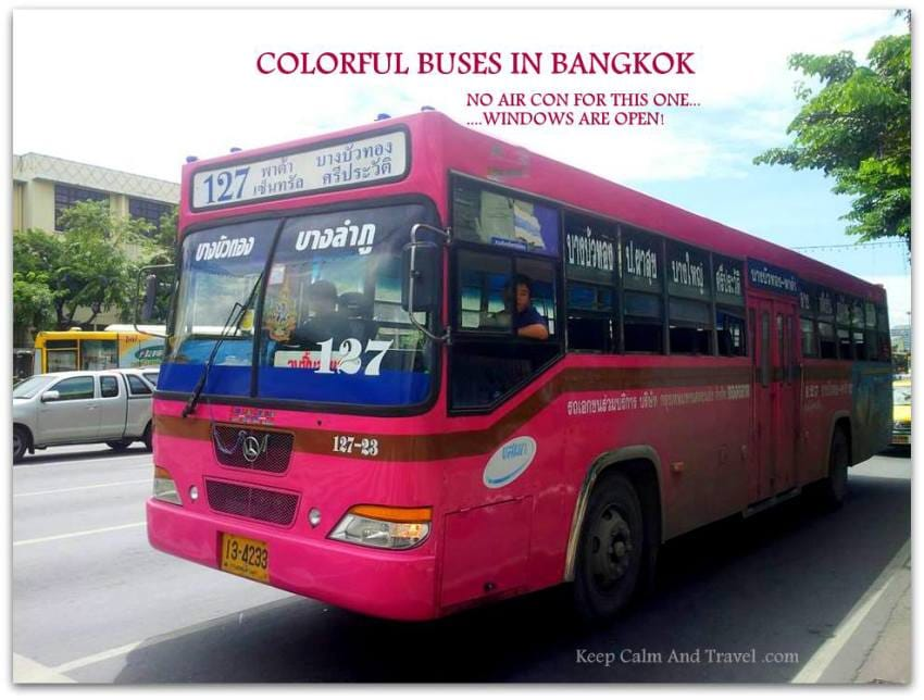 TYPICAL-Bus-IN- Bangkok-colorful-pink-with-no-air-con-