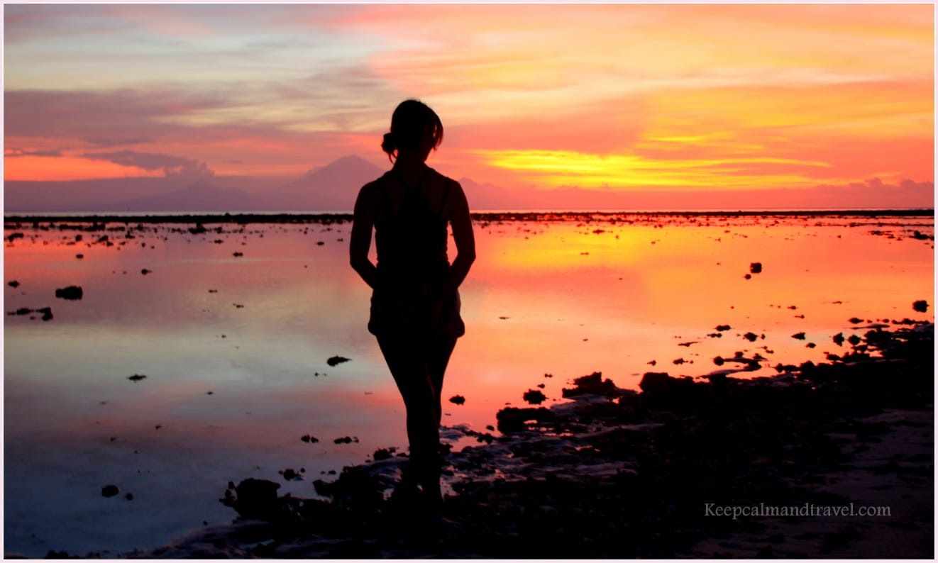 Indonesia Gili Islands wonderful amazing warm sunset on the beach