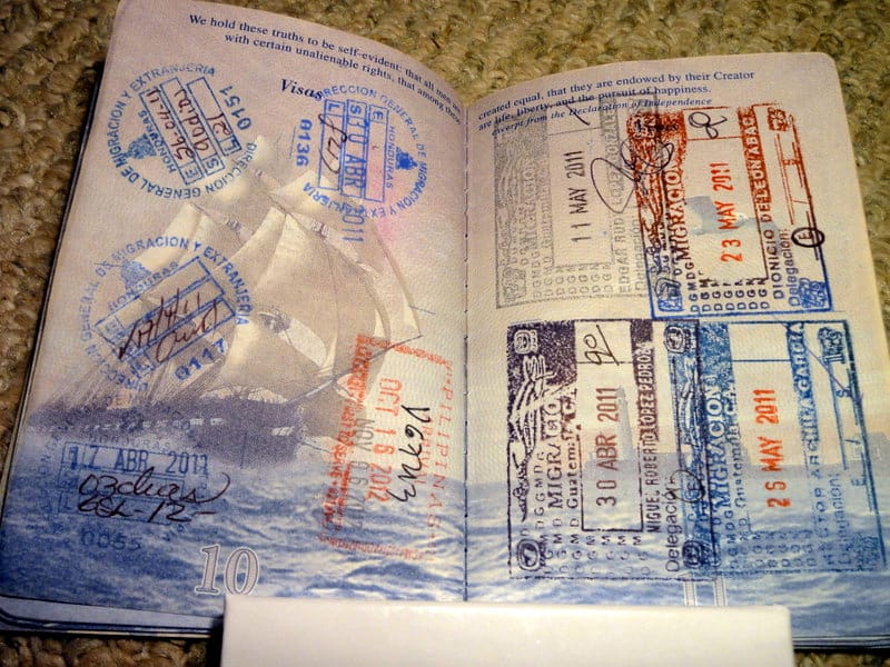 Jaime's passport after 2 years on the road.  Passport stamps, jaime davila passport, jaime davila interview, breakawaybackpacker.com, clelia mattana, keep calm and travel