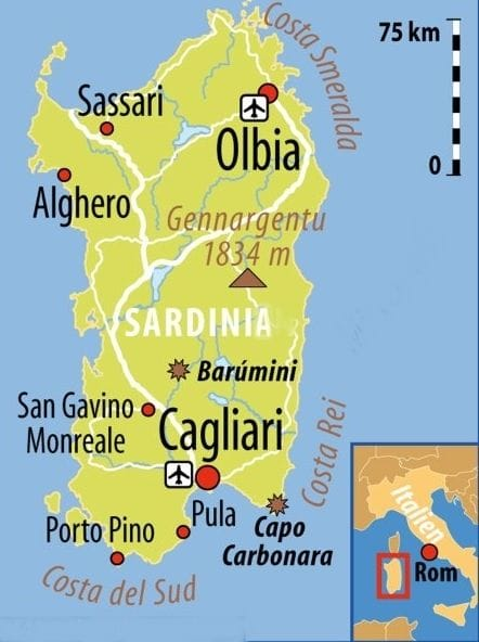 sardinia airports map, map of the airports in sardinia, sardinia map