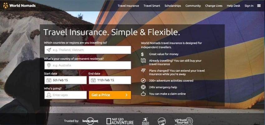 worldnomad travel insurance website