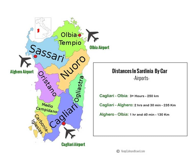 One_week_Sardinia_holidays_Sardegna_map_distances_airports_Cagliari_Alghero_olbia_by_car