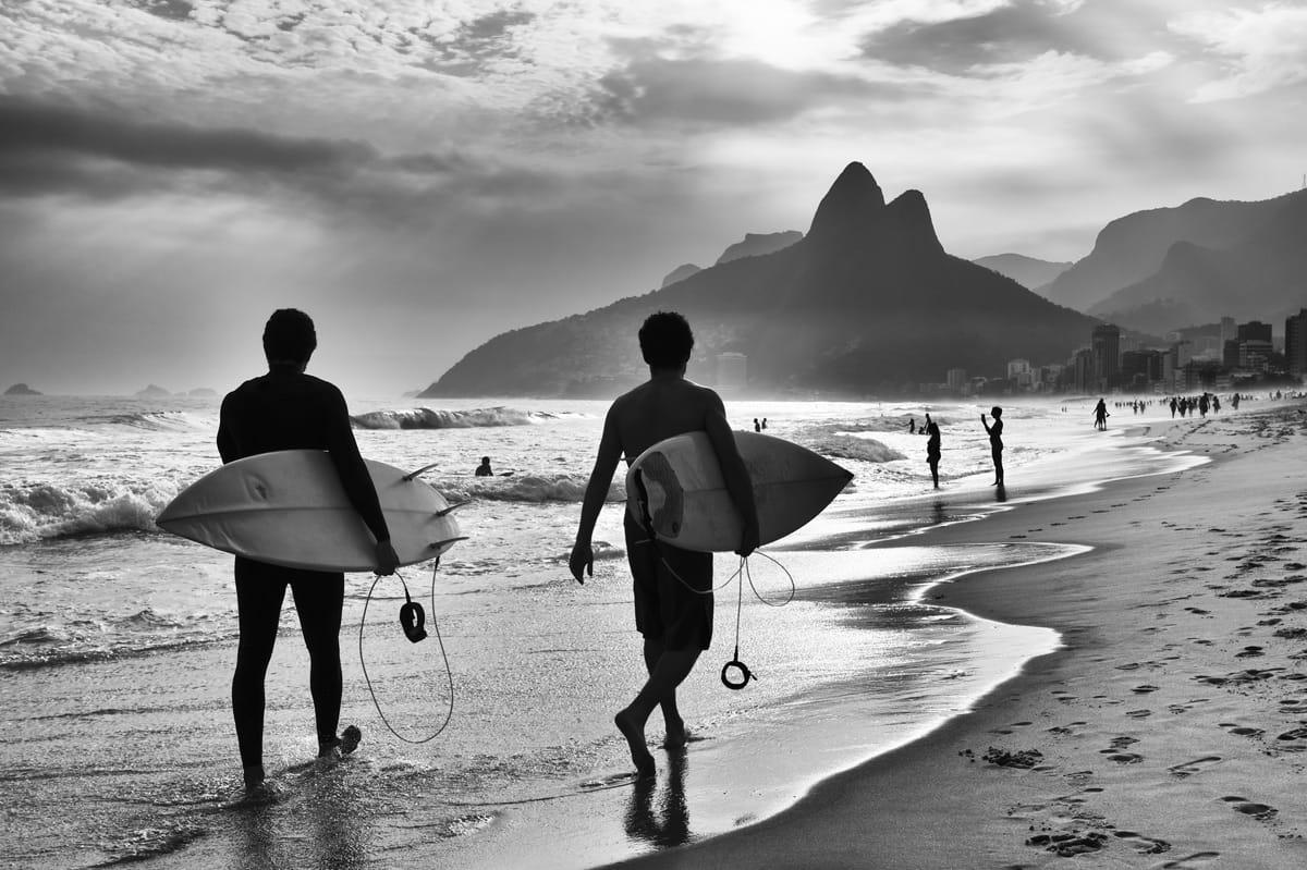 Scenic black and white view of Rio de Janeiro, Brazil with Brazi
