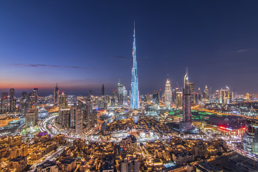 DUBAI,-UAE-Burj-Khalifa-the-tallest-building-in-the-world.-Dubai-Downtown-cityscape.-Dubai-evening-skyline