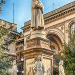 ITALY-ROAD-TRIP-MILAN-Statue-of-Leonardo-da-Vinci-in-Piazza-della-Scala-Milan-Italy