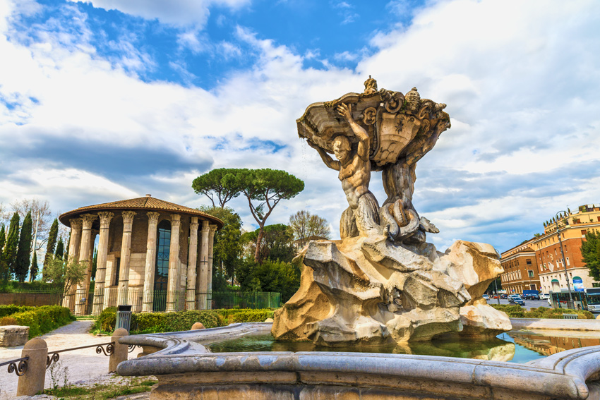 ROME-IN-ONE-DAY-THINGS-TO-DO-AND-BEST-TOURS-Fountain-of-Tritons-Temple-of-Hercules-Piazza-Bocca-della-Verita-Rome-Italy-Europe