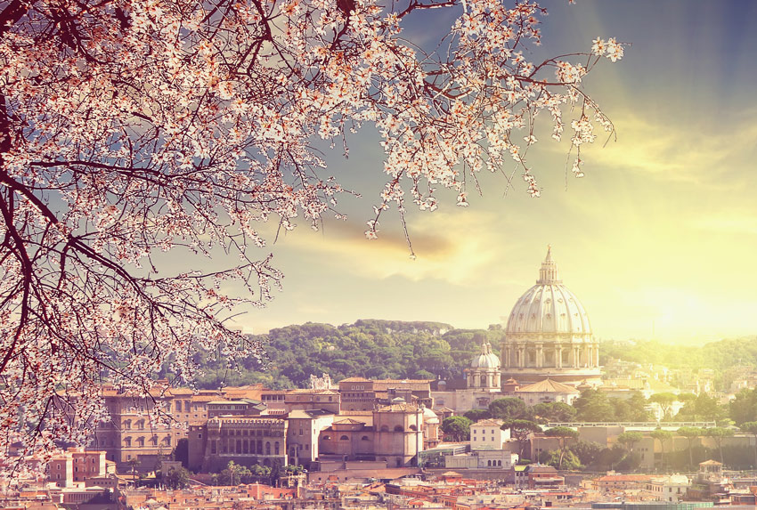 ROME-IN-ONE-DAY-THINGS-TO-DO-Aerial-View-of-St.-Peter's-cathedral-and-dome-in-Rome-Italy-at-spring-sunset