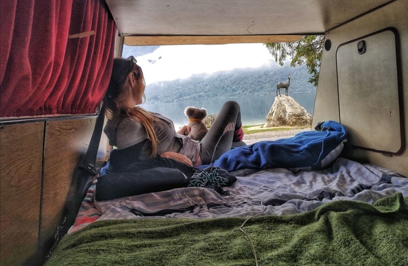 visiting-slovenia-in-one-week-by-campervan-itinerary-the-inside-of-the-camper-lake-bohinj